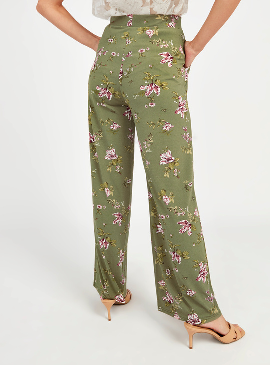 Full Length Printed Palazzo Pants with Pocket Detail