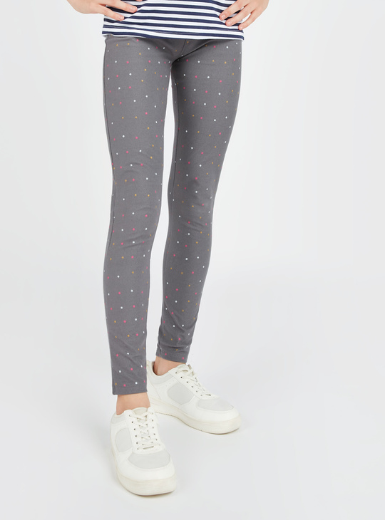 All Over Star Print Jeggings with Elasticised Waistband