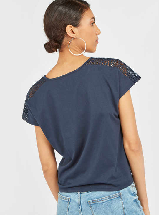Solid Round Neck Top with Short Sleeves and Knot Detail