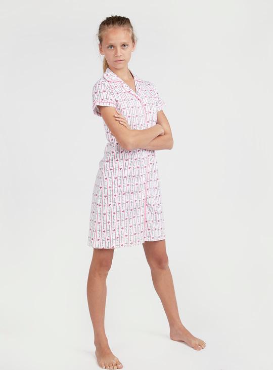 Striped Short Sleeves Sleep Shirt with Prints