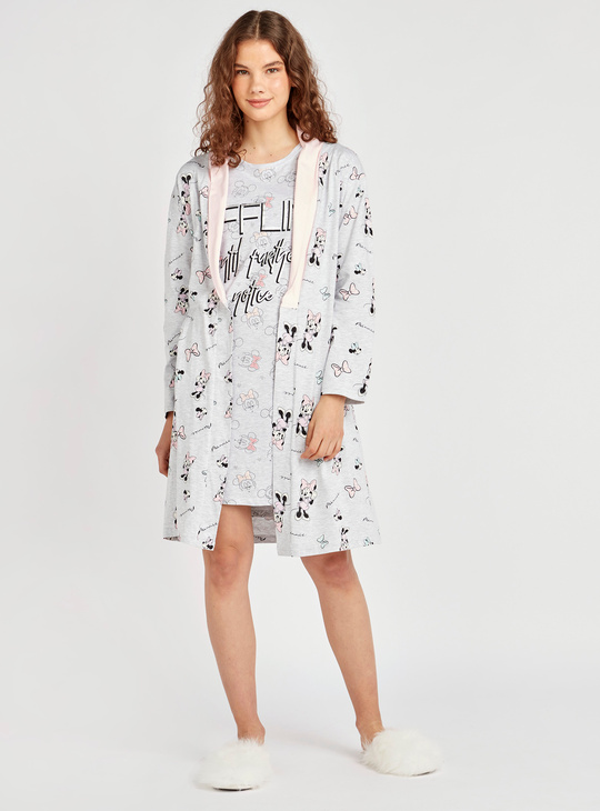 Mickey and Minnie Mouse Print Sleep Shirt with Short Sleeves