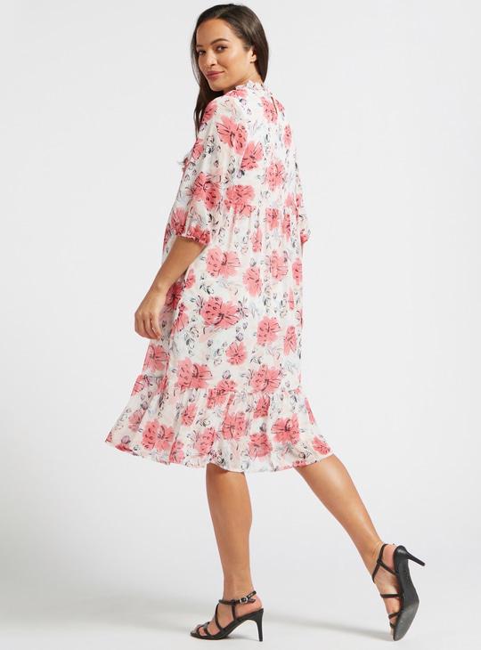فستان للحوامل إيه لاين ميدي متعدد الطبقات بأكمام 3/4 وطبعات أزهار