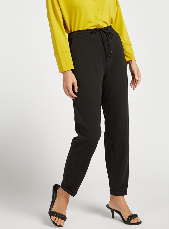 Full Length Solid Knit Pants with Pocket Detail and Drawstring Closure