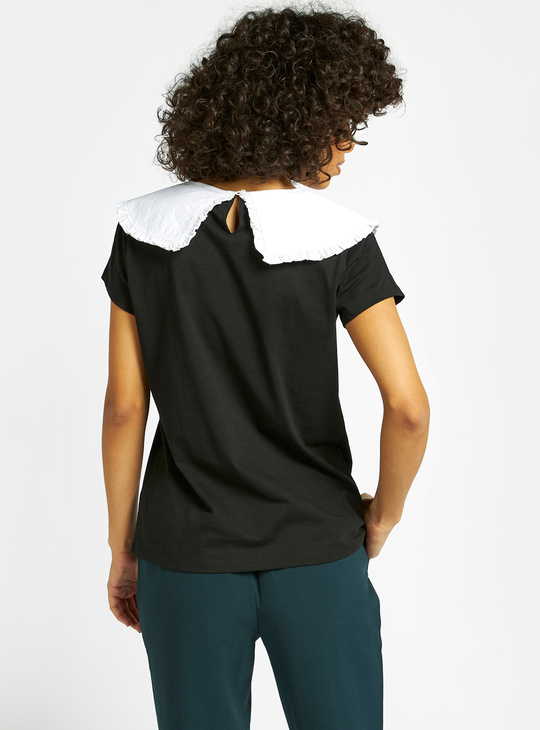 Solid Top with Peter Pan Collar and Cap Sleeves