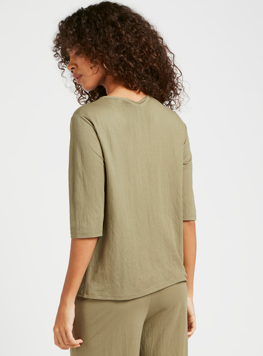 Solid Top with Short Sleeves and Twist Knot Detail