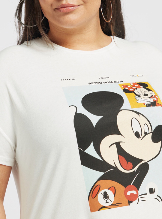 Mickey and Minnie Mouse Print Round Neck T-shirt with Short Sleeves