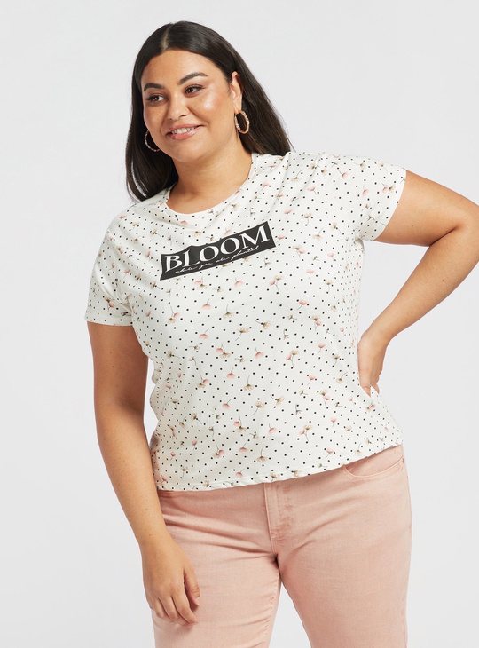 All-Over Print T-shirt with Round Neck and Cap Sleeves