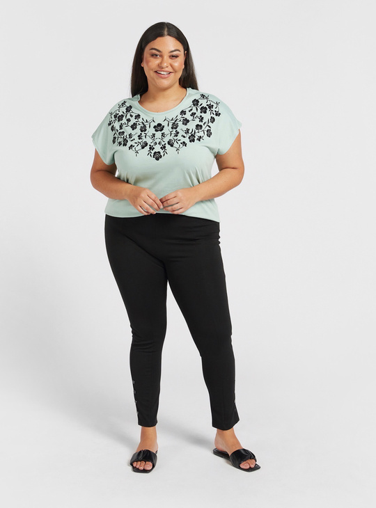 Floral Print Round Neck T-shirt with Cap Sleeves