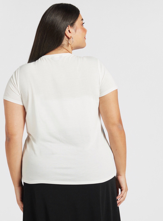 Text Embossed Print T-shirt with Round Neck and Cap Sleeves