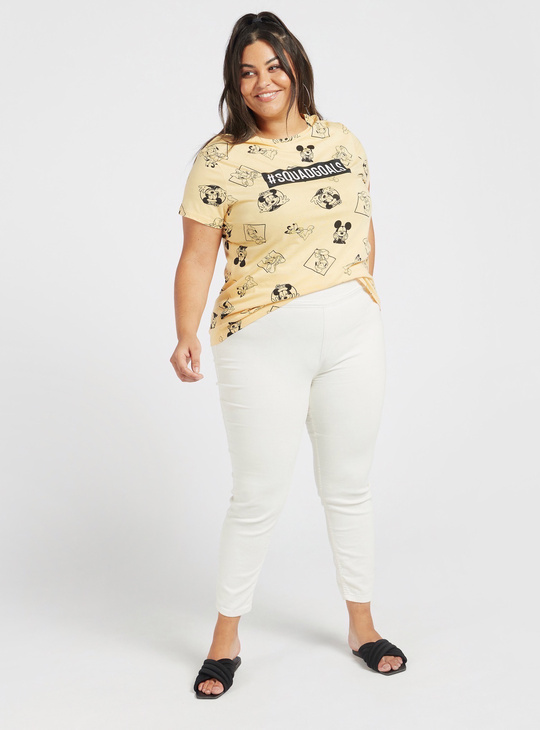 All-Over Mickey Mouse and Friends Print T-shirt with Cap Sleeves