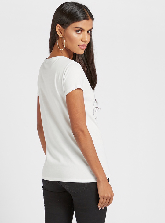 Dumbo Graphic Print T-shirt with Round Neck and Cap Sleeves