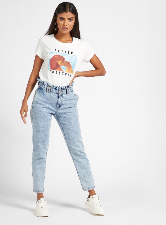 The Lion King Graphic Print T-shirt with Round Neck and Cap Sleeves