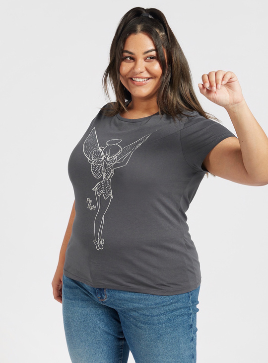 Tinker Bell Print Round Neck T-shirt with Cap Sleeves