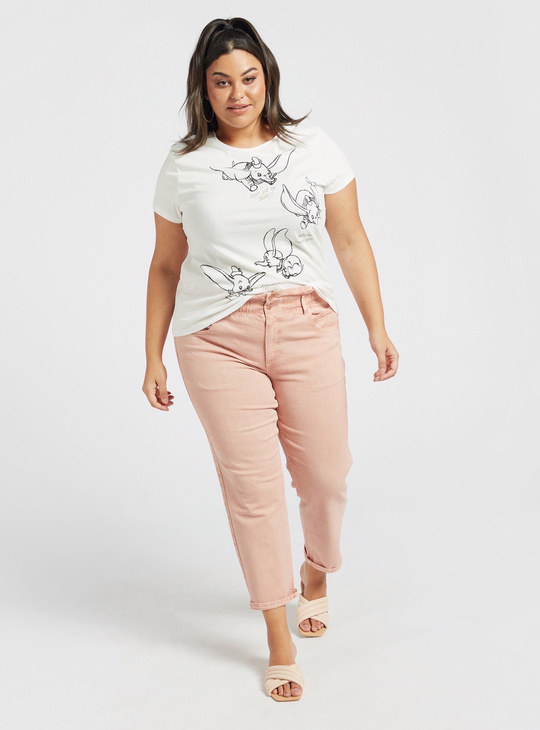 Dumbo Print Round Neck T-shirt with Cap Sleeves
