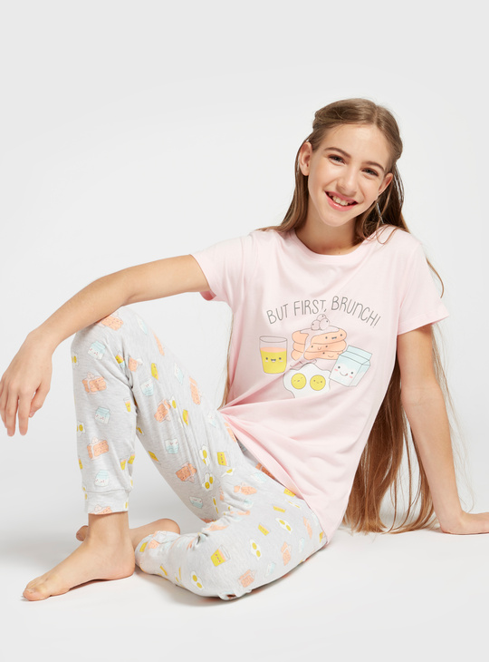 Graphic Print T-shirt and All-Over Print Pyjama Set
