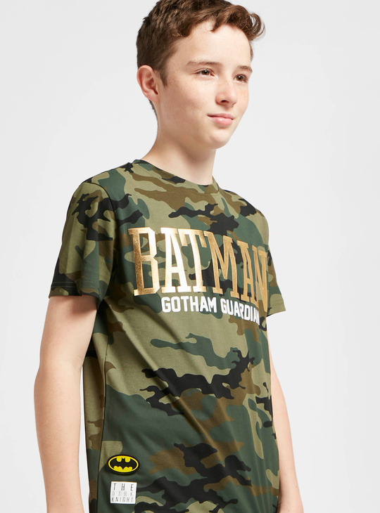 Batman Print Camouflage T-shirt with Short Sleeves