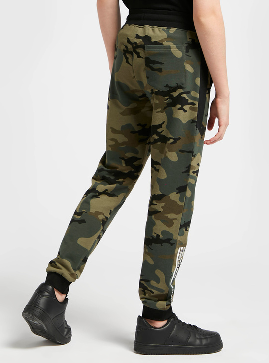Camouflage and Batman Print Joggers with Drawstring Closure