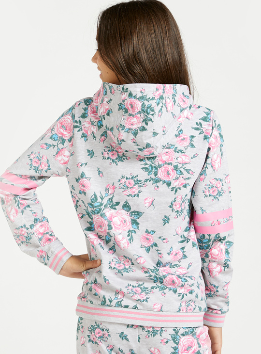 Mickey Mouse and Floral Print Hoodie with Long Sleeves