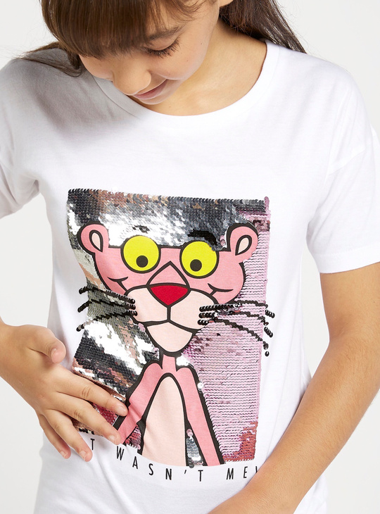 Pink Panther Embellished T-shirt with Short Sleeves and Round Neck