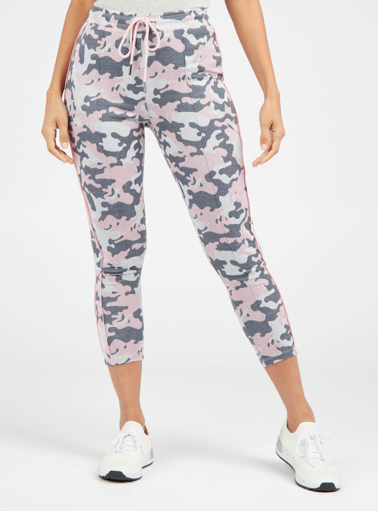 Camouflage Print Cropped Leggings with Drawstring Closure