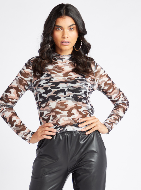 Camouflage Print High Neck Top with Long Sleeves