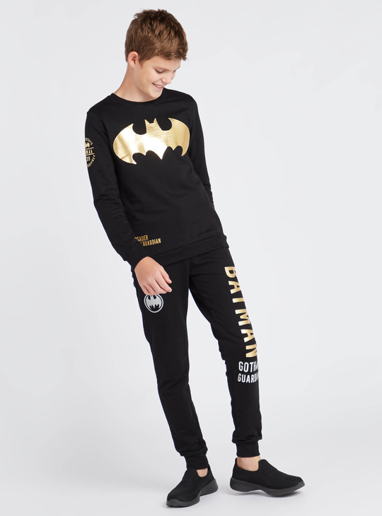 Batman Print Round Neck Sweat Top with Long Sleeves