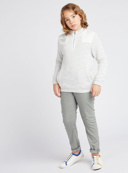 Textured High Neck Sweatshirt with Long Sleeves
