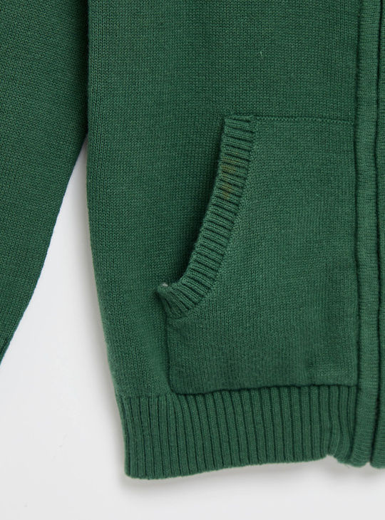 Textured Front Zip Sweater with Long Sleeves and Pockets