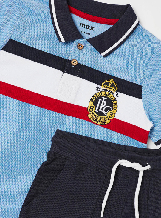 Panelled Polo T-shirt and Shorts Set