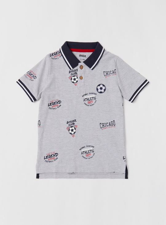 Set of 2 - All-over Print Polo T-shirt and Shorts