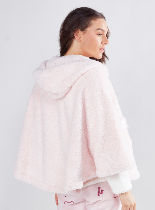 Cozy Collection Zip Front Cape Jacket with Drawstring Hood