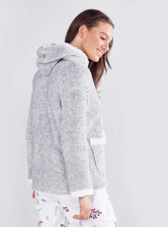 Cozy Collection Plush Long Sleeves Jacket with Zip Closure and Hood