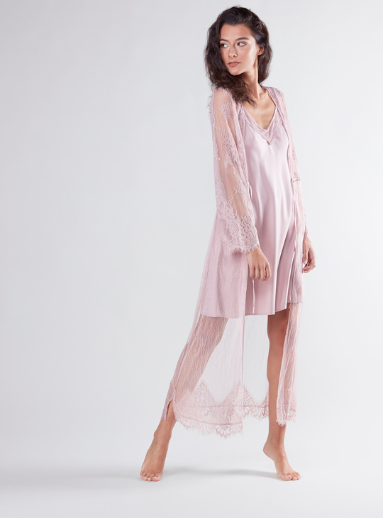 Lace Robe with Long Sleeves and Tie Ups