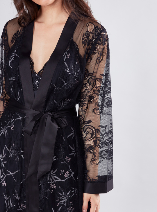 Lace Long Sleeves Robe with Tie Ups