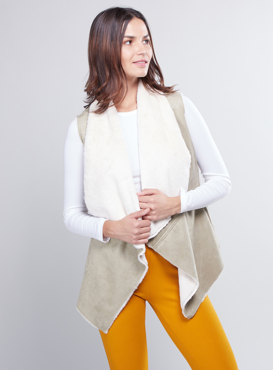 Textured Open Front Sleeveless Coat with Plush Detail