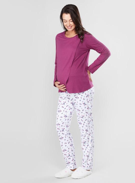 Maternity Plain T-shirt and Pyjamas Set