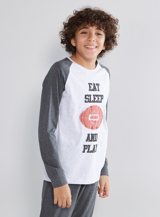 Printed Raglan T-shirt and Pyjamas with Drawstring Closure