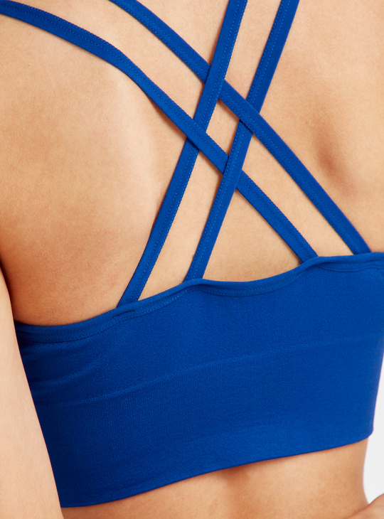 Slim Fit Medium Support Solid Sports Bra with Criss Cross Back