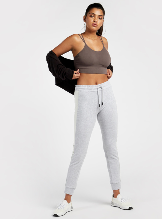 Jacquard Ribbed Medium Support Sports Bra with Back Cross Straps