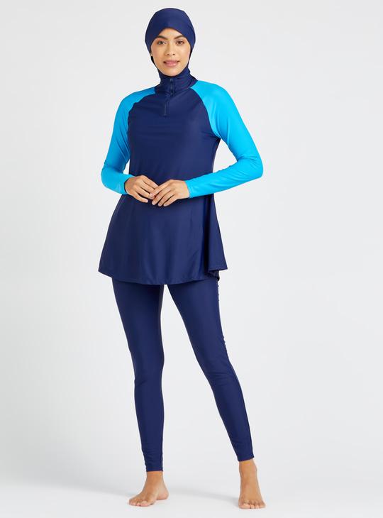 Solid 3-Piece Burkini with Raglan Sleeves