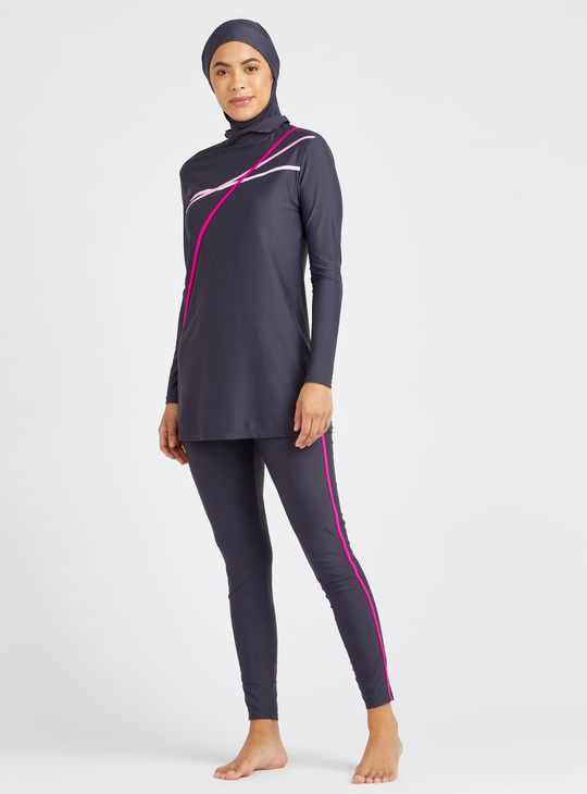 Solid 2-Piece Burkini with Long Sleeves