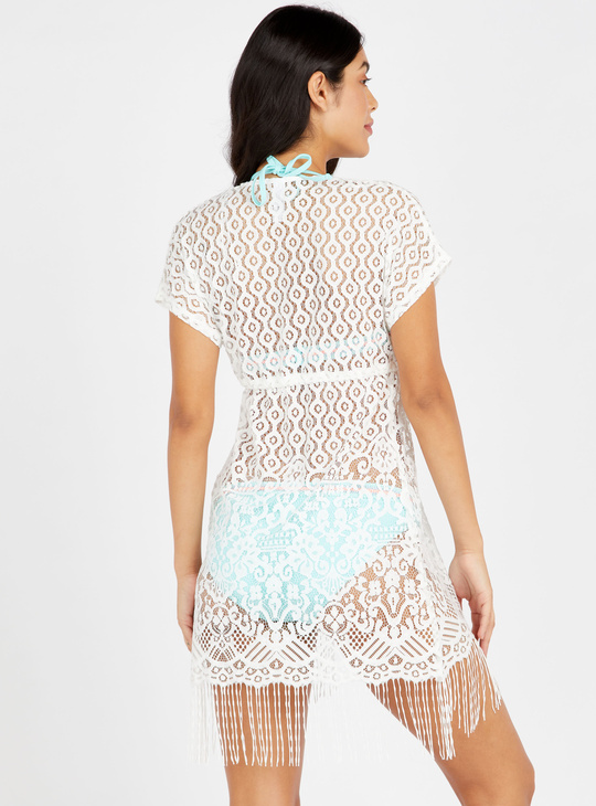 Textured Cover Up with Tie-Ups and Fringes