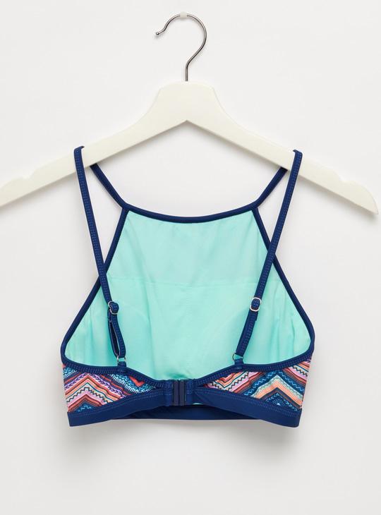 Printed Square Neck Sleeveless Bikini Top