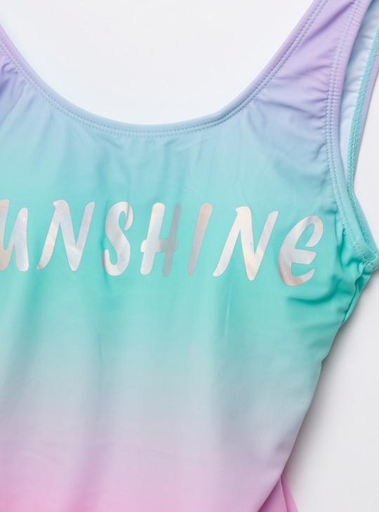 Sunshine Slogan Print Sleeveless Swimsuit