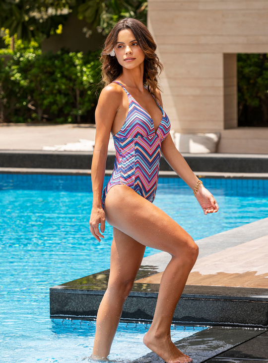 Geometric Print Multi Coloured Halter Neck Swimsuit