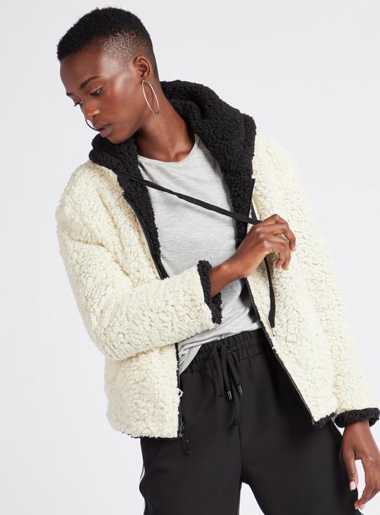 Reversible Fleece Jacket with Long Sleeves and Drawstring Hood
