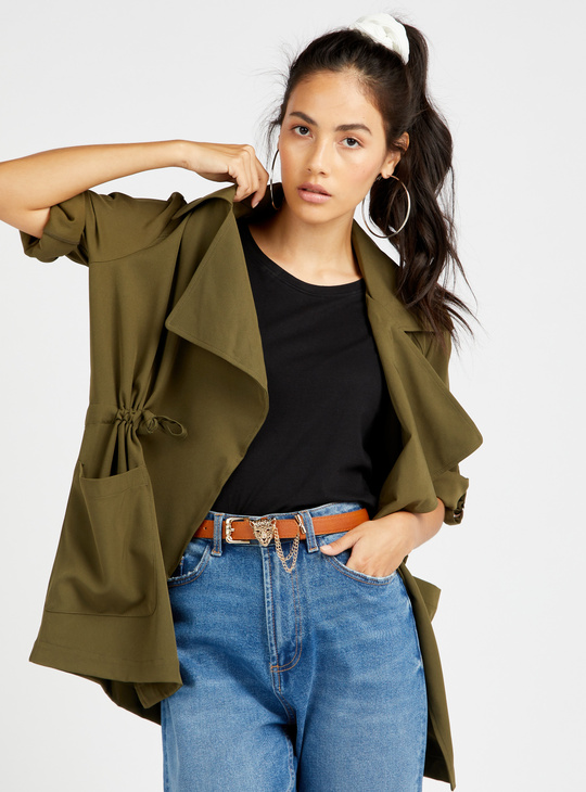 Solid Collared Trench Coat with Long Sleeves and Drawstring Tie Up