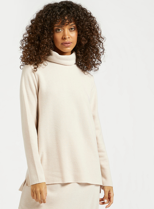 Solid Top with Turtle Neck and Long Sleeves