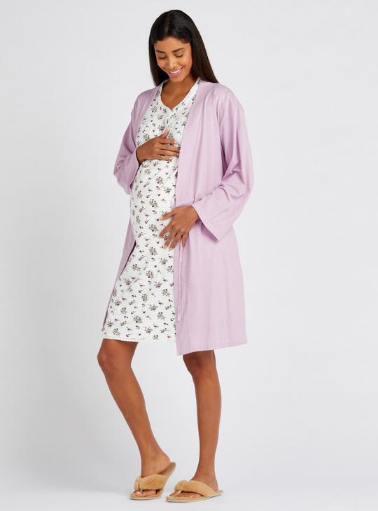 Printed Maternity Round Neck Sleep Dress with Solid Robe