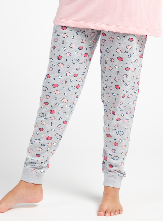 Cozy Collection Printed T-shirt and Full Length Pyjama Set